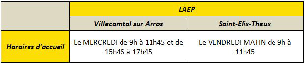Horaires accueil L.A.E.P Villecomtal : Mercredi de 9h à 11h45 et de 15h45 à 17h45. Horaires accueil L.A.E.P Saint-Elix-Theux : Mercredi de 9h à 11h45