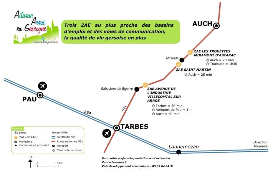 Carte des trois zone d'activité économique entre Auch et Tarbes ; Miramont d'Astarac, Saint-Martin, Villecomtal sur arros